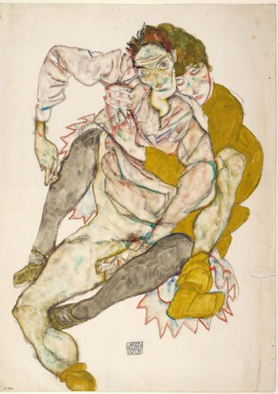 Schiele, Egon: Seated Couple, 1915. Fine Art Print/Poster. Sizes: A4/A3/A2/A1 (003710)